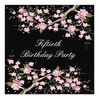 Cherry Blossom Womans 50th Birthday Party 13 Cm X 13 Cm Square Invitation Card