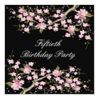 Cherry Blossom Womans 50th Birthday Party Card