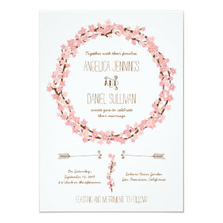 Cherry Blossom Wreath Boho Rustic Wedding Card