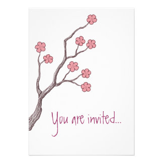 Cherry Blossom, You are invited.. Invitation pink