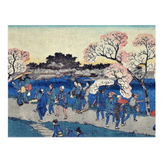 Cherry blossoms along the river by Andō,Hiroshige Postcard