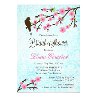 Cherry Blossoms and Bird Bridal Shower Invitation