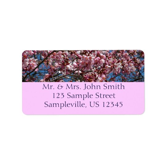 Cherry Blossoms and Blue Sky Spring Floral Label