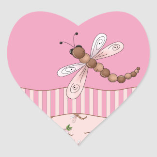 Cherry Blossoms and Dragonflies Heart Stickers