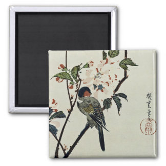 Cherry Blossoms and Small Bird Square Magnet