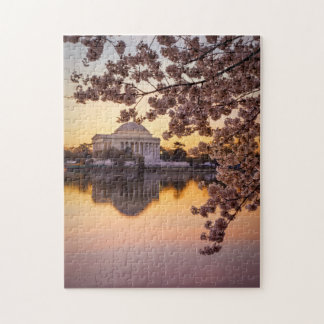 Cherry Blossoms And The Jefferson Memorial Jigsaw Puzzle