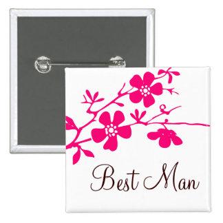 Cherry Blossoms Best Man Button