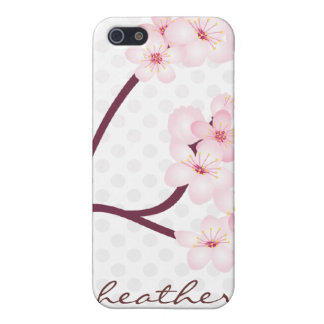 Cherry Blossoms Branch on Polka Dots iPhone 5 Case
