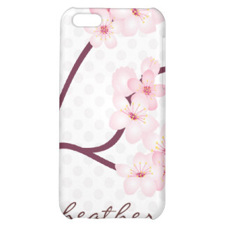Cherry Blossoms Branch on Polka Dots iPhone 5C Cases