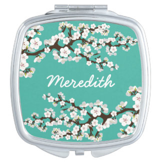 Cherry Blossoms Compact Mirror Bridal Party Gift Travel Mirror