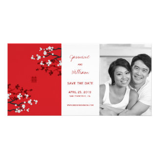 Cherry Blossoms Double Happiness Save The Date Personalized Photo Card