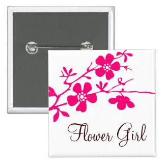 Cherry Blossoms Flower Girl Button