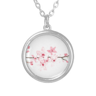 Cherry blossoms flowers silver plated necklace
