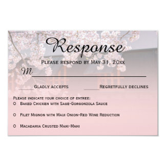 "Cherry Blossoms Flowers Wedding RSVP Cards 3.5"" X 5"" Invitation Card"
