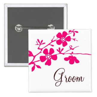 Cherry Blossoms Groom Button