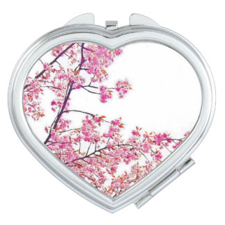 Cherry Blossoms Heart-Shaped Compact Mirror