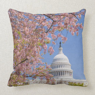 Cherry blossoms in front of Capitol building Throw Pillow