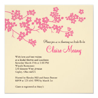 Cherry Blossoms in Pink and Ivory 13 Cm X 13 Cm Square Invitation Card