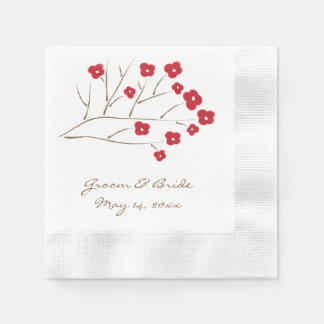 Cherry Blossoms in Red Wedding Disposable Napkins