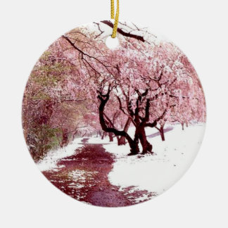 Cherry Blossoms In Snow Ornament