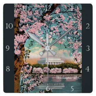 Cherry Blossoms in Washington DC Custom Square Wall Clock