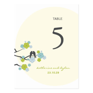 Cherry Blossoms Love Birds Wedding Table Number Postcard