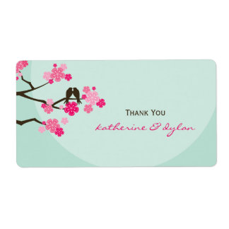 Cherry Blossoms Love Birds Wedding Thank You Label Shipping Label