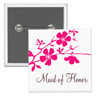 Cherry Blossoms Maid of Honor Button