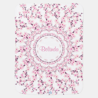 Cherry Blossoms Mandala Monogram Baby Blanket