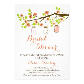 Cherry blossoms & mason jars wedding bridal shower 13 cm x 18 cm invitation card