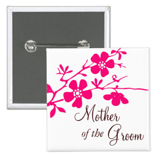 Cherry Blossoms Mother of the Groom Button