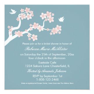 Cherry Blossoms on blue Bridal Shower Invite