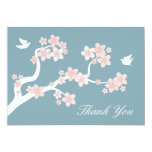 Cherry Blossoms on blue Thank You Note Personalized Announcement