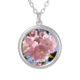 Cherry Blossoms on Silver Necklace