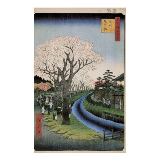 Cherry Blossoms on the Banks of the Tama River Poster