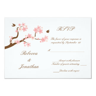 Cherry Blossoms on white RSVP Card