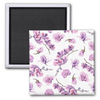 Cherry Blossoms Pattern Square Magnet