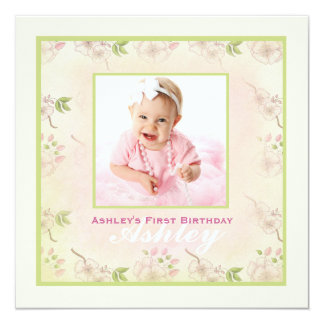 Cherry Blossoms - Photo Birthday Party Invitation