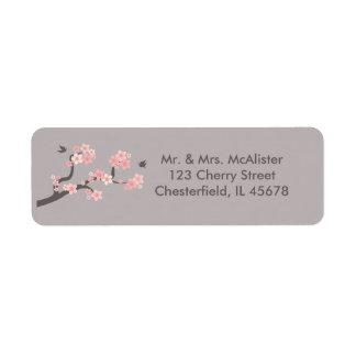 Cherry Blossoms pink/grey address label