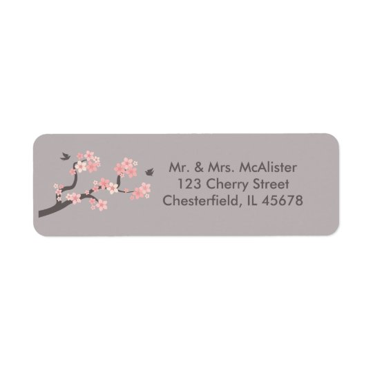 Cherry Blossoms pink/grey address label