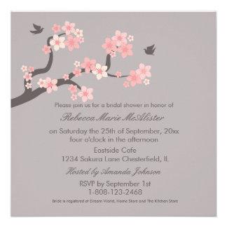 Cherry Blossoms Pink Grey Bridal Shower Invite