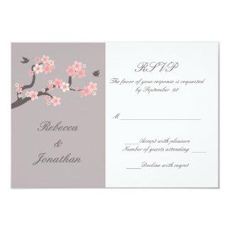 Cherry Blossoms pink/grey RSVP 9 Cm X 13 Cm Invitation Card