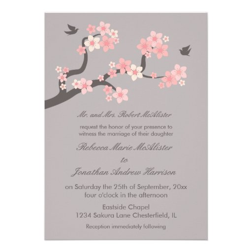 Cherry Blossoms Pink/Grey Wedding Invitation