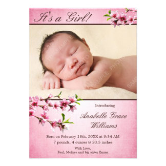 Cherry Blossoms Pink Photo Birth Announcement