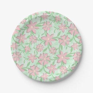 Cherry Blossoms Pink Sakura Bloom Spring Flowers Paper Plate