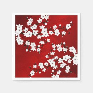 Cherry Blossoms Red Black and White Paper Napkin