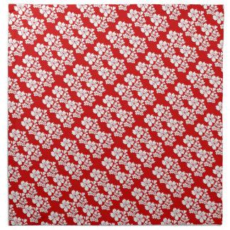 Cherry blossoms red white printed napkin