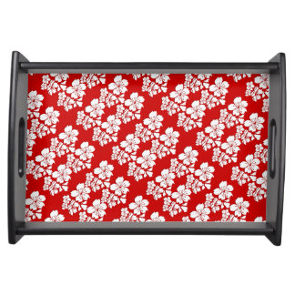 Cherry blossoms red white serving platters