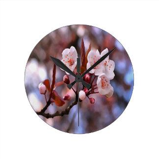 Cherry Blossoms Round Clock