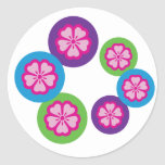 Cherry blossoms round stickers